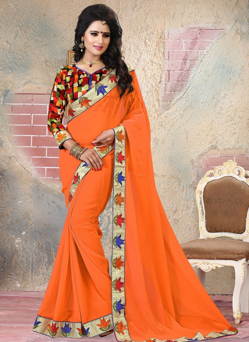 Whimsical Orange Color Resham Work Party Wear Saree