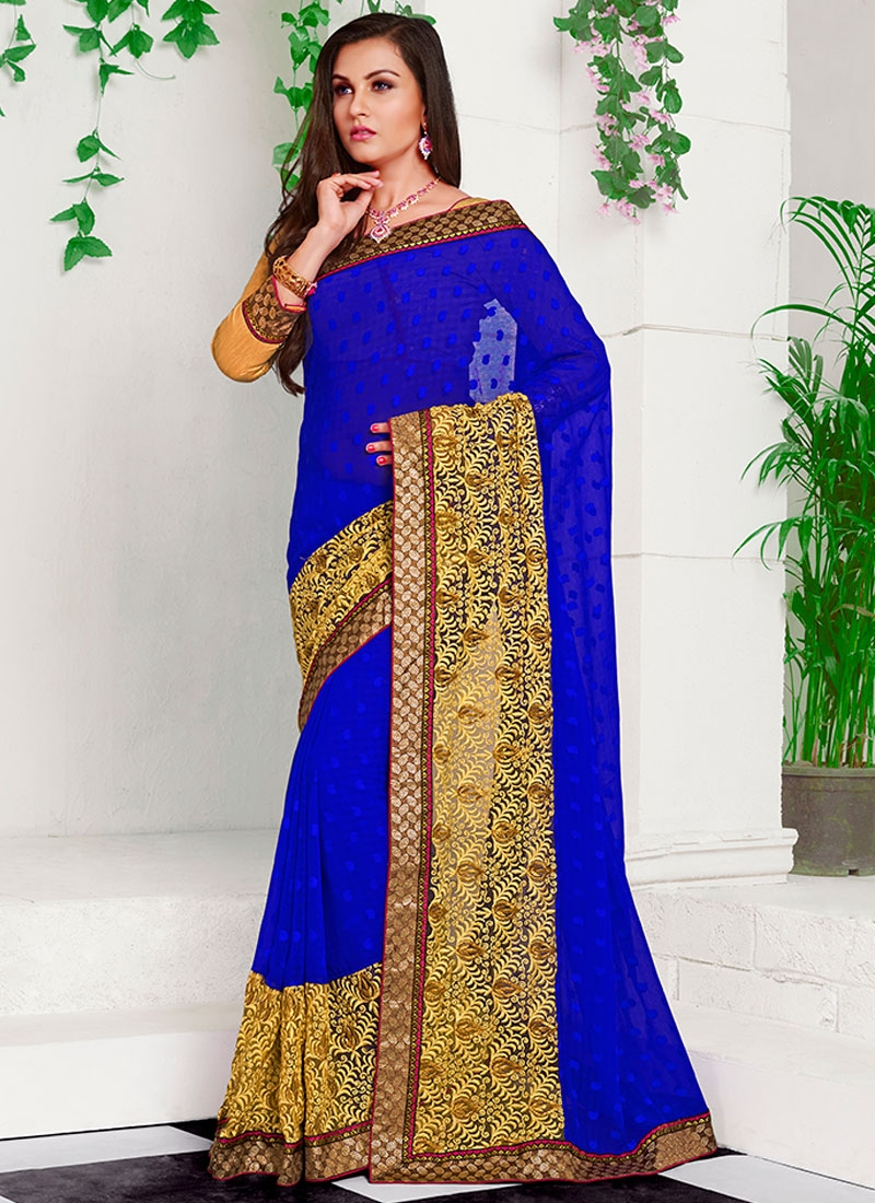 Whimsical Patch Border Work Blue Color Party Wear Saree