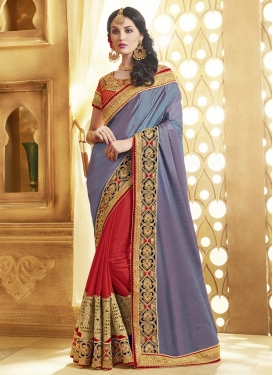 Whimsical Patch Border Work Half N Half Designer Saree