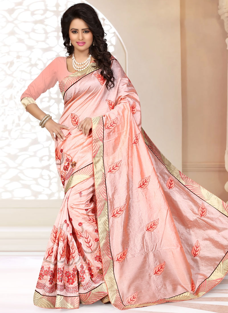 Whimsical Resham Work Chanderi Silk Party Wear Saree