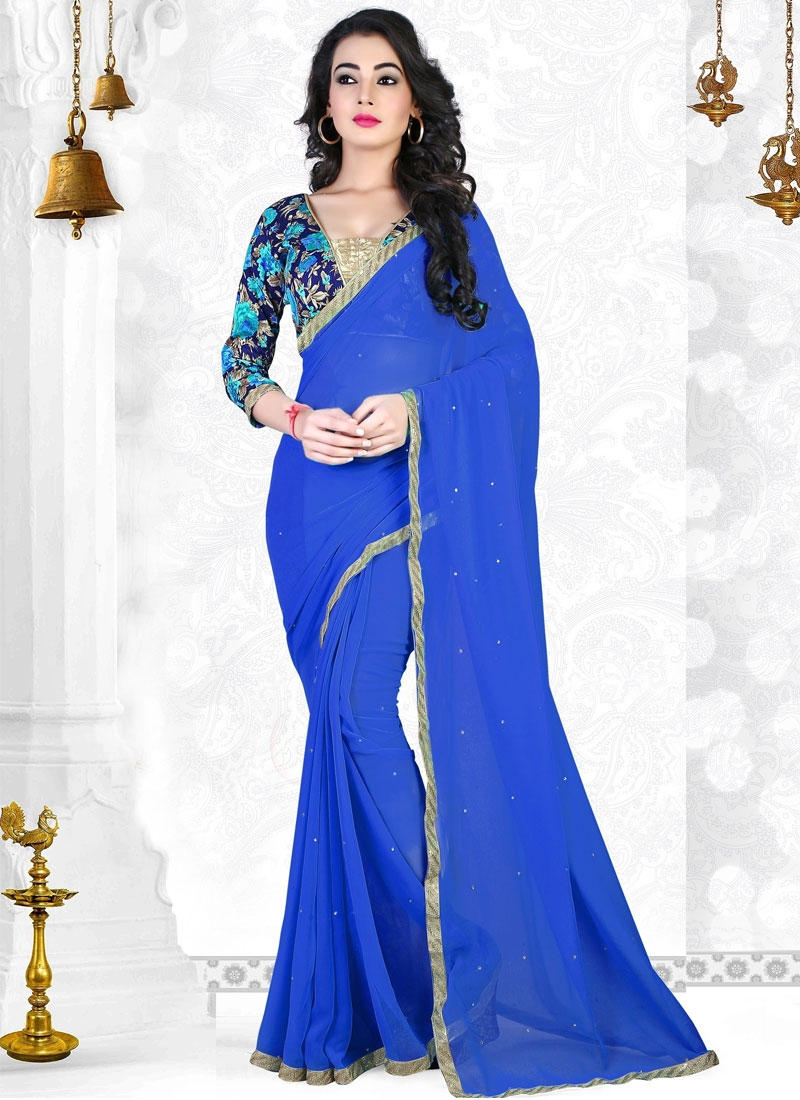 Whimsical Stone And Lace Work Casual Saree
