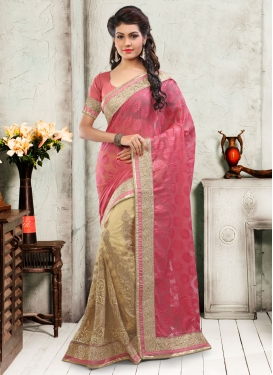Whimsical Stone Work Brasso Half N Half Wedding Saree