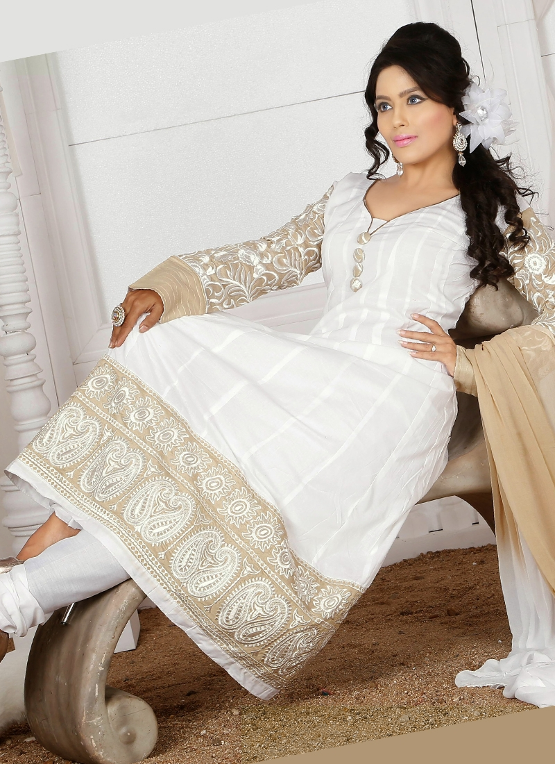 White And Beige Color Readymade Churidar Suit