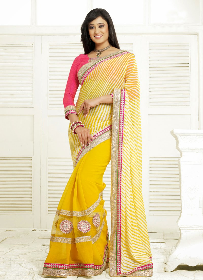 White And Yellow Shweta Tiwari Half N Half Saree