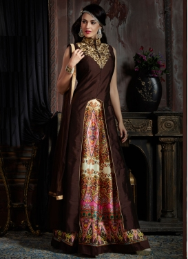 Winsome Art Raw Silk Readymade Designer Gown