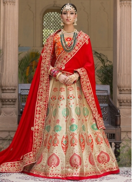 Winsome Beads Work Beige and Red Banarasi Silk Lehenga Style Saree For Bridal