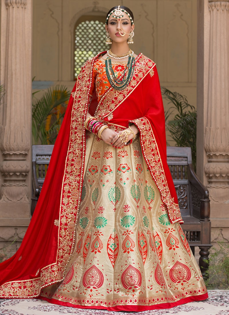 Winsome Beads Work Beige And Red Banarasi Silk Lehenga Style Saree For Bridal