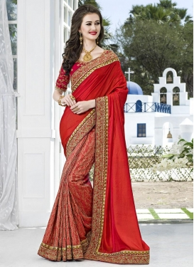 Winsome Beads Work Half N Half Trendy Saree For Festival