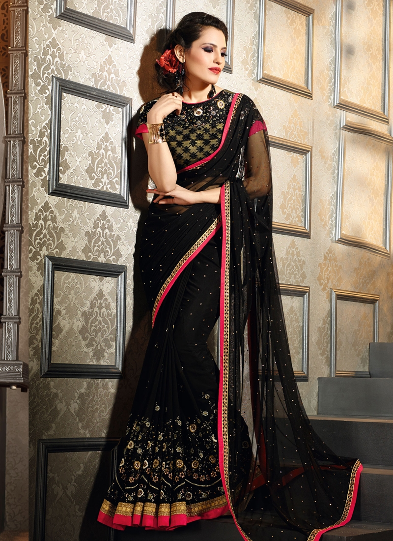 Winsome Black Color Stone Work Designer Saree