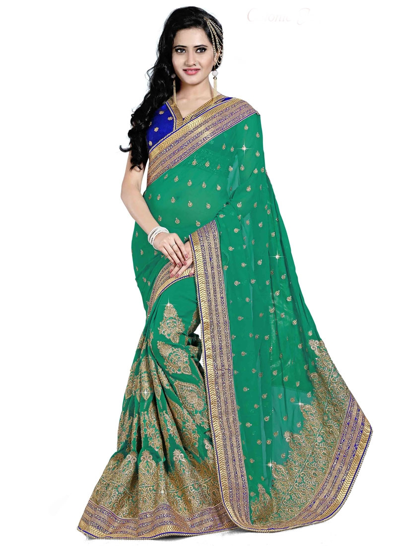 Winsome Booti And Beads Enhanced Wedding Saree