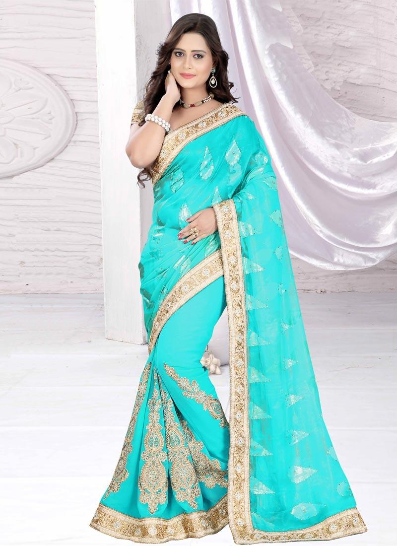 Winsome Chiffon Satin Booti Work Designer Saree