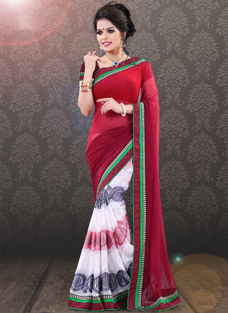 Winsome Crimson Color Half N Half Party Wear Saree