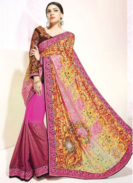 Winsome Digital Print And Resham Work Half N Half Party Wear Saree
