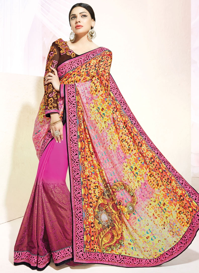 Winsome Digital Print And Resham Work Half N Half Party Wear Saree
