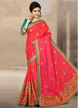 Winsome Embroidered Work Jacquard Silk Contemporary Style Saree For Festival