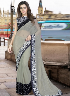 Winsome Embroidered Work Traditional Designer Saree For Festival