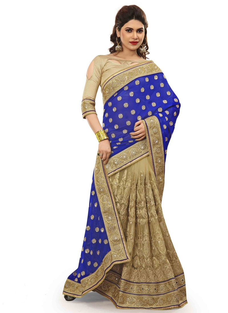 Winsome Embroidery And Beads Work Half N Half Bridal Saree