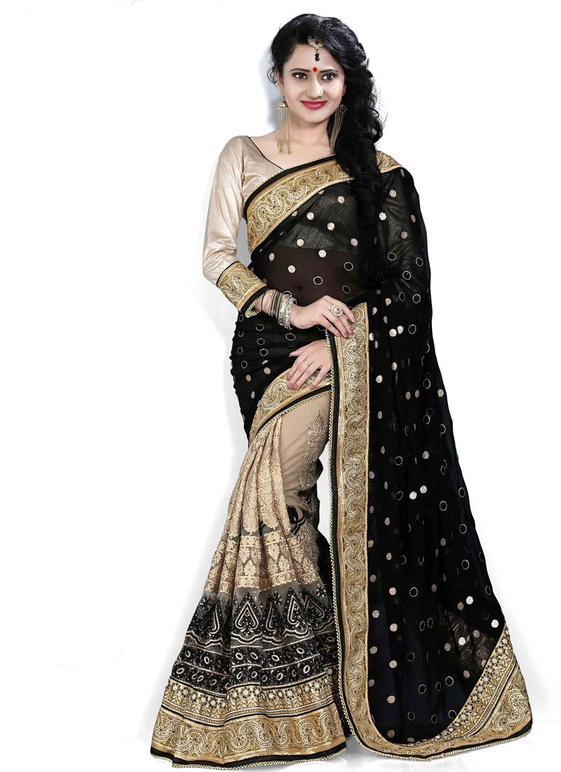 Winsome Embroidery Work Black Color Half N Half Wedding Saree