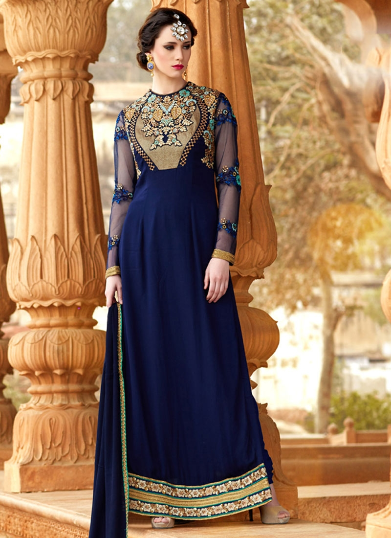 Winsome Embroidery Work Long Length Pakistani Salwar Suit
