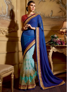 Winsome Embroidery Work Net Half N Half Wedding Saree