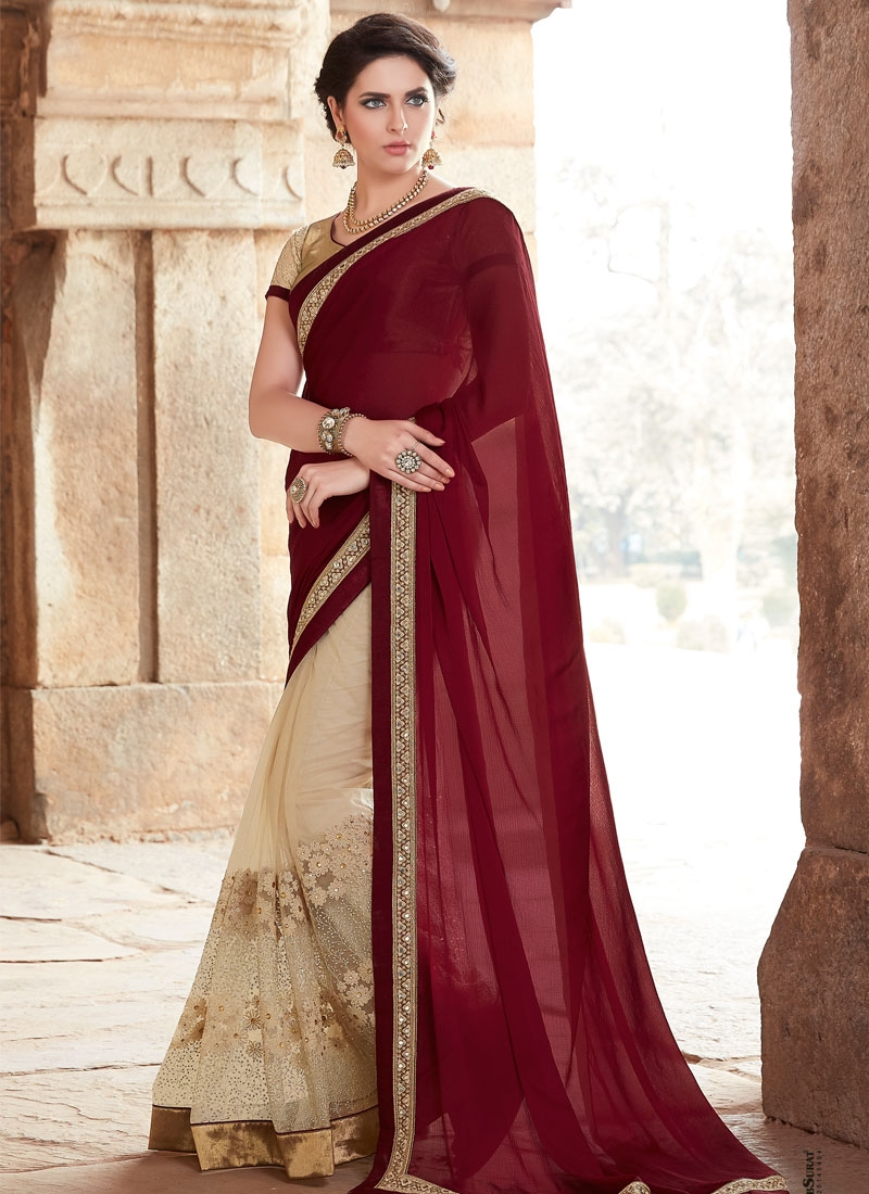 Winsome Faux Chiffon And Net Half N Half Designer Saree