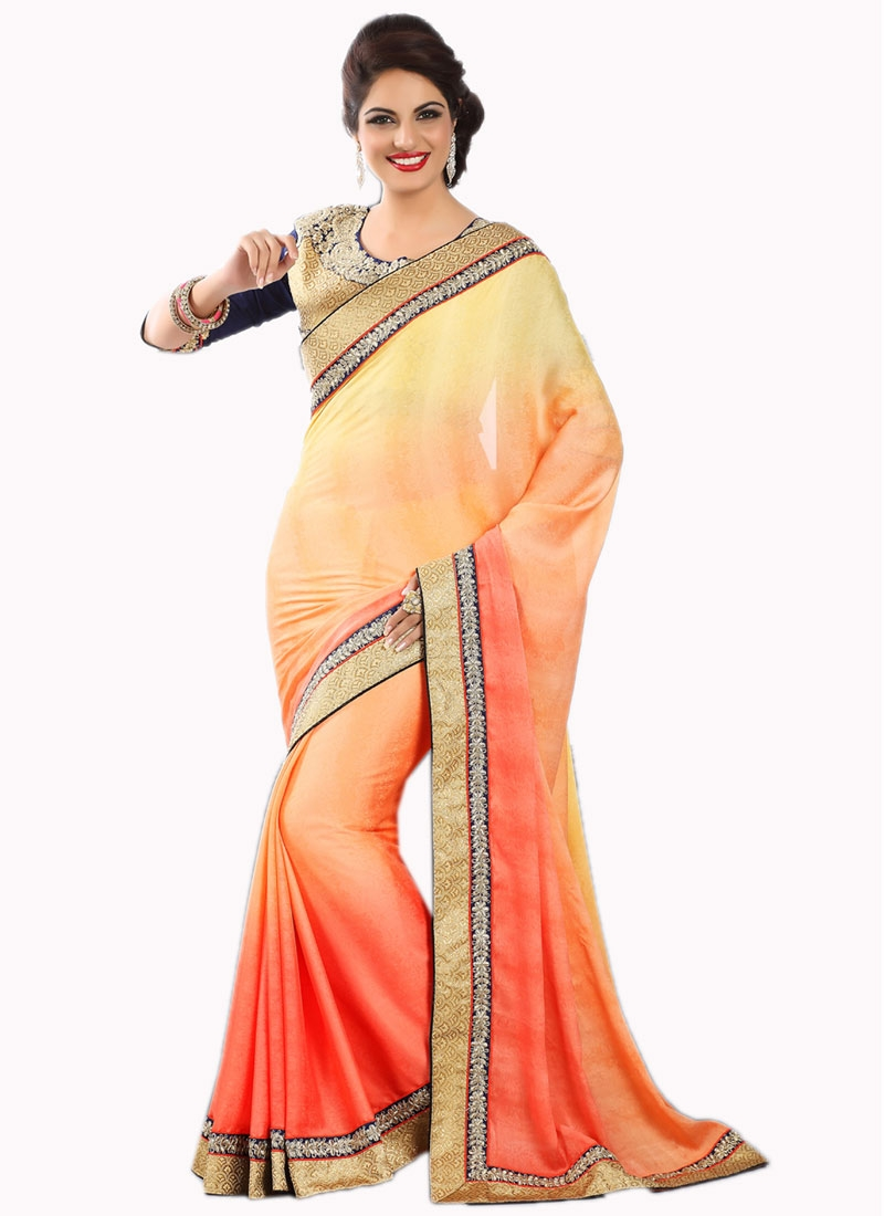 Winsome Faux Crepe Lace Work Party Wear Saree