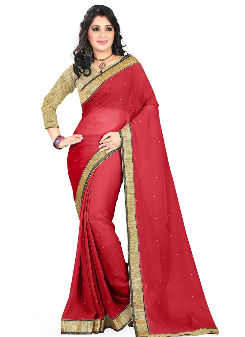 Winsome Faux Georgette Lace Work Casual Saree