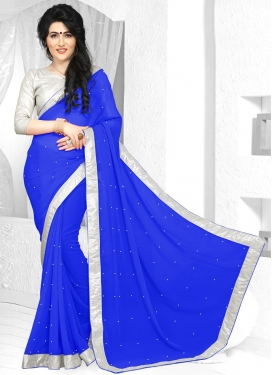 Winsome Faux Georgette Lace Work Contemporary Saree