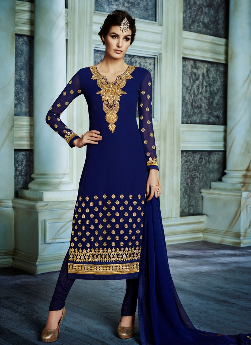Winsome Faux Georgette Stone Work Party Wear Suit