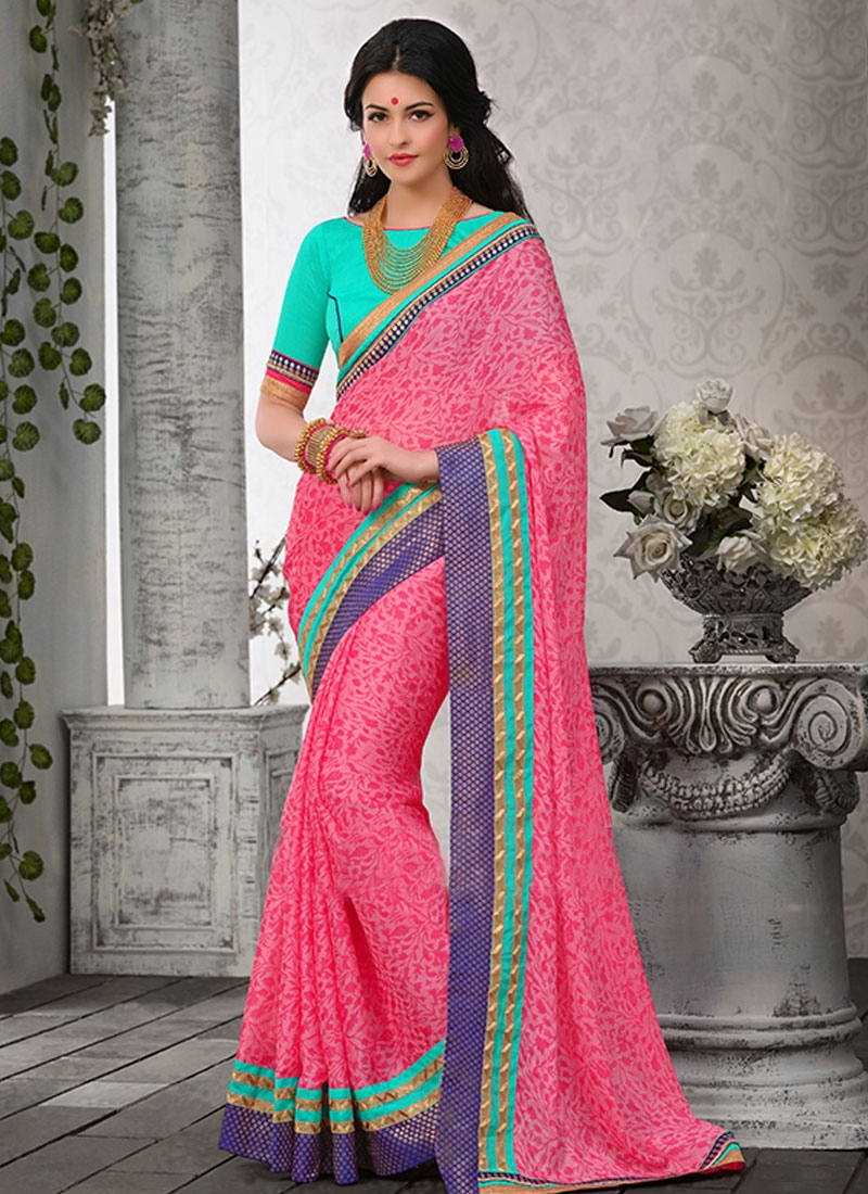 Winsome Hot Pink Color Lace Work Casual Saree