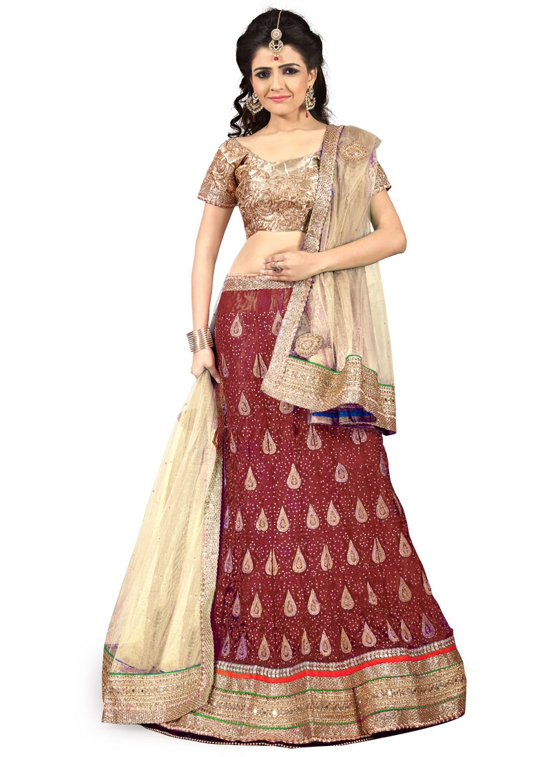Winsome Net Embroidery Work Wedding Lehenga Choli