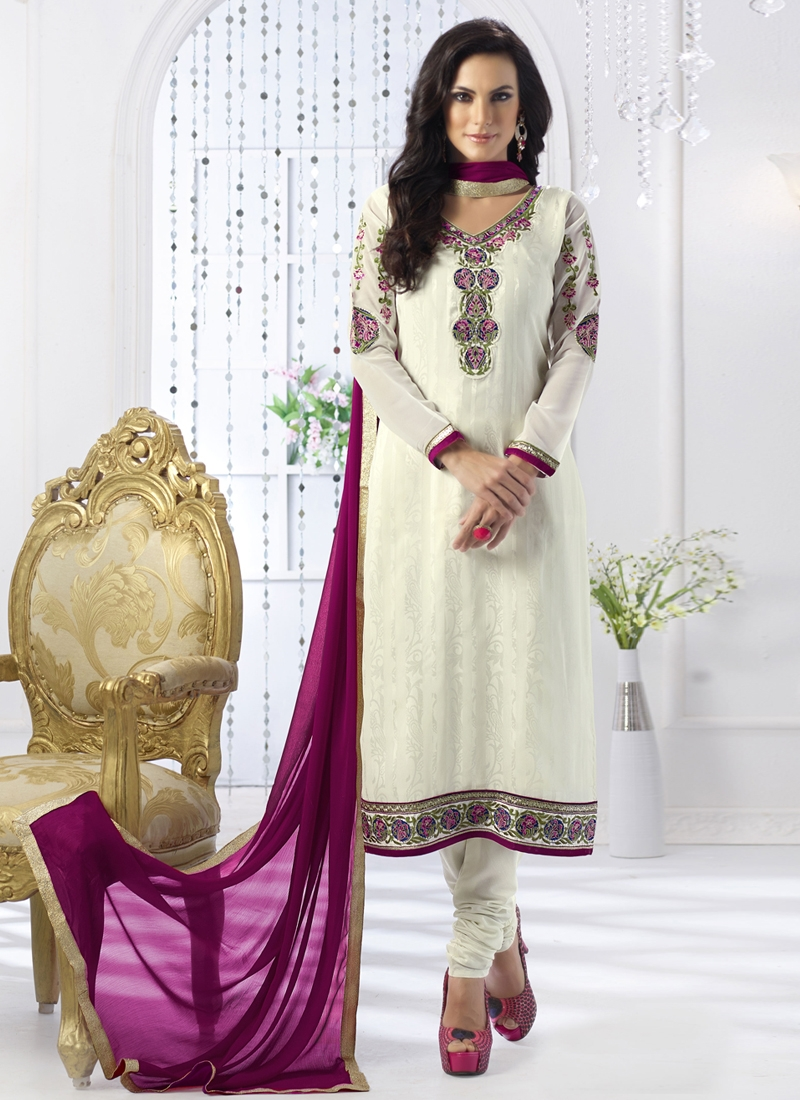 Winsome Off White Color Churidar Salwar Suit