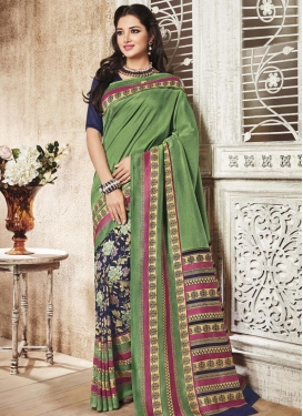 Winsome Print Work  Half N Half Trendy Saree For Casual