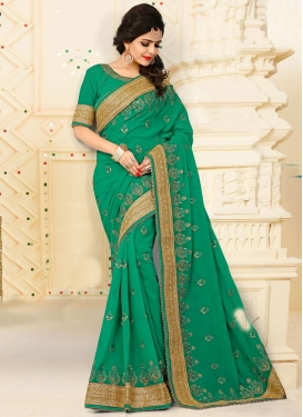 Winsome Pure Georgette Green Designer Saree