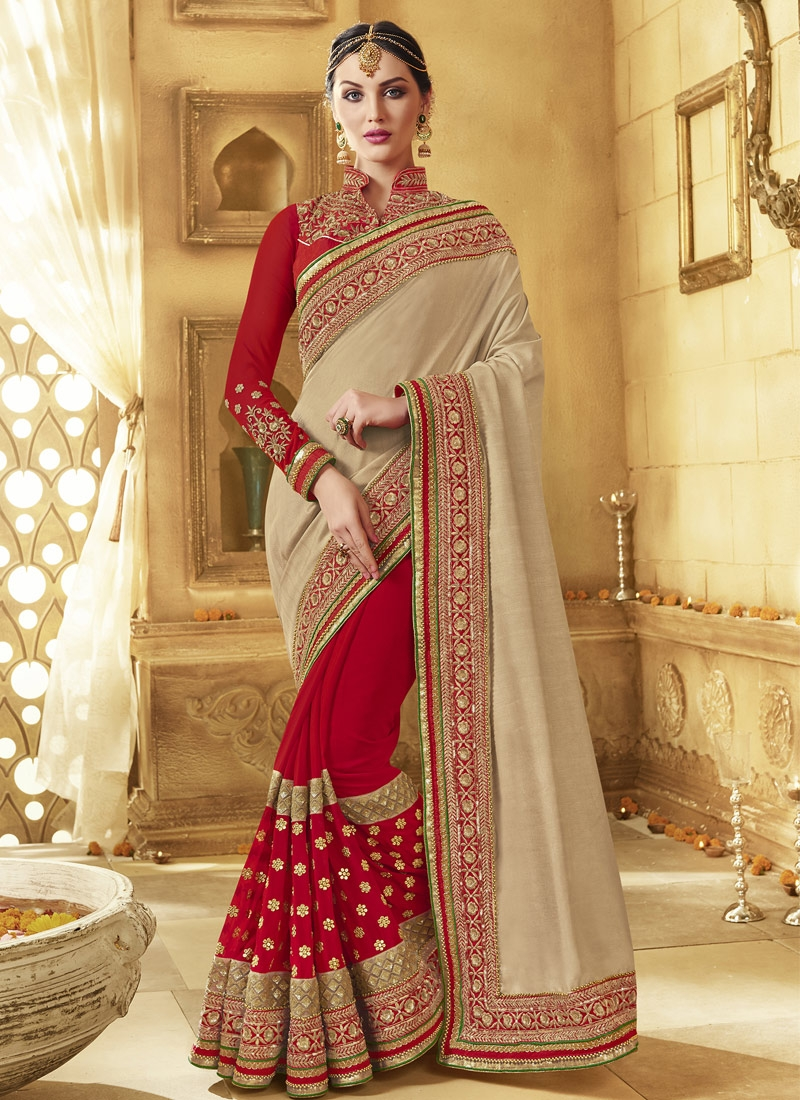 Winsome Pure Georgette Half N Half Wedding Saree