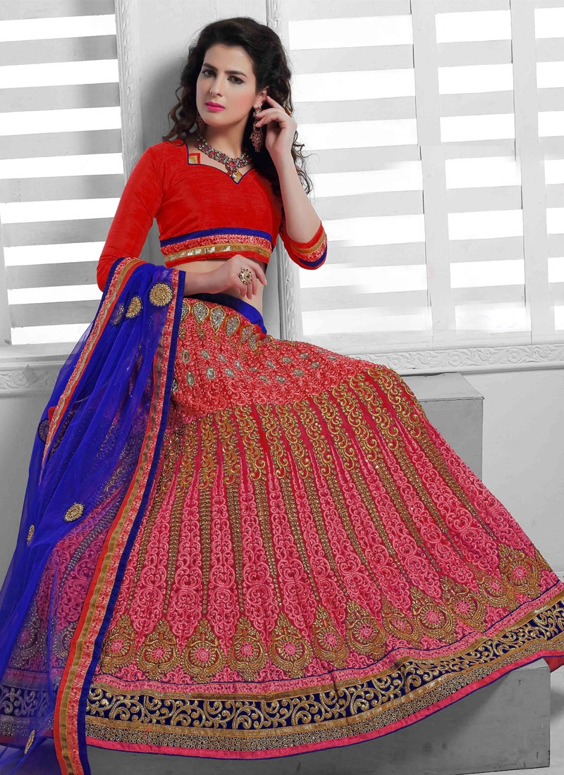 Winsome Red And Rose Pink Color Lace Work Bridal Lehenga Choli