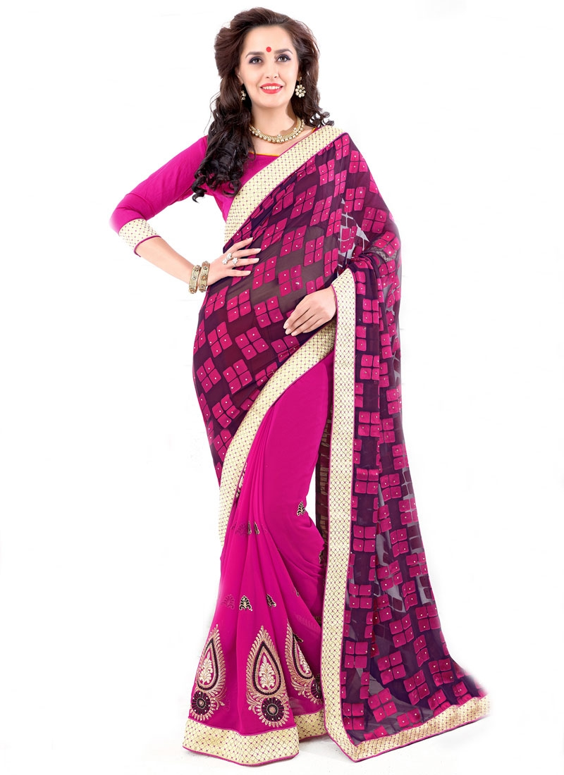 Winsome Resham Work Rose Pink Color Half N Half Party Wear Saree