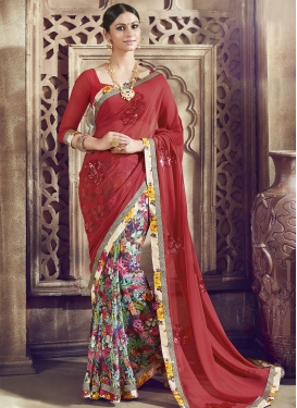 Winsome Sequins Work Half N Half Party Wear Saree