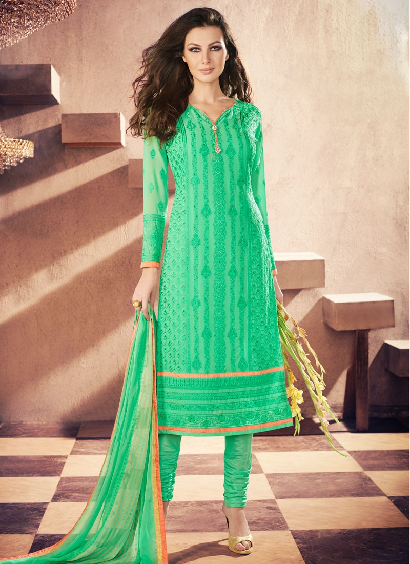 Winsome Stone And Embroidery Work Churidar Suit