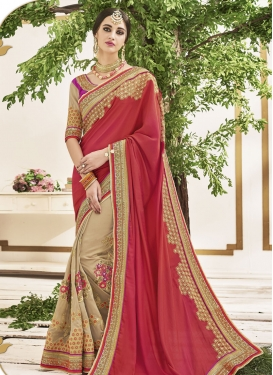 Wonderous Beige and Red Beads Work  Half N Half Designer Saree