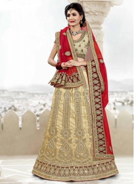 Wonderous Bhagalpuri Silk Cream and Red Trendy A Line Lehenga Choli For Bridal