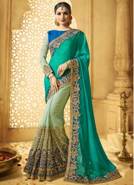Wonderous Embroidered Work Art Silk Half N Half Trendy Saree