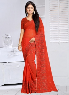 Wonderous Embroidered Work Trendy Saree For Festival