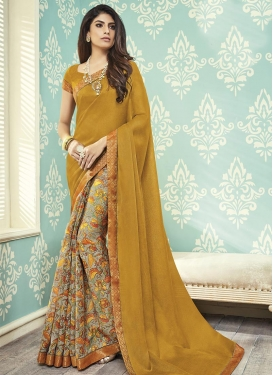 Wonderous Grey and Mustard Half N Half Saree For Casual