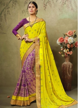 Wonderous Purple and Yellow Lace Work  Half N Half Saree