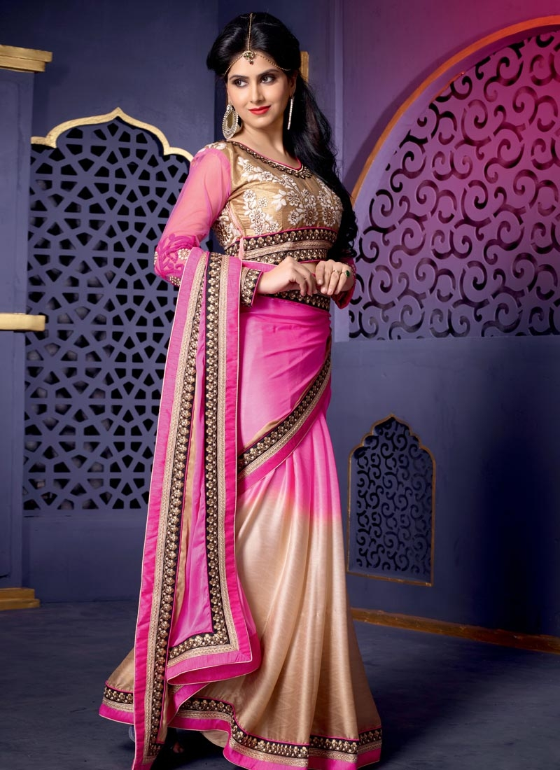 Wonderous Resham And Lace Work Party Wear Saree