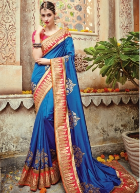 Wonderous Satin Silk Booti Work Designer Contemporary Style Saree