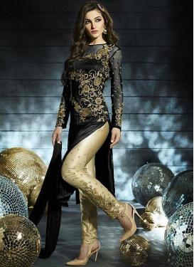 Wondrous Art Silk And Net Pant Style Designer Suit