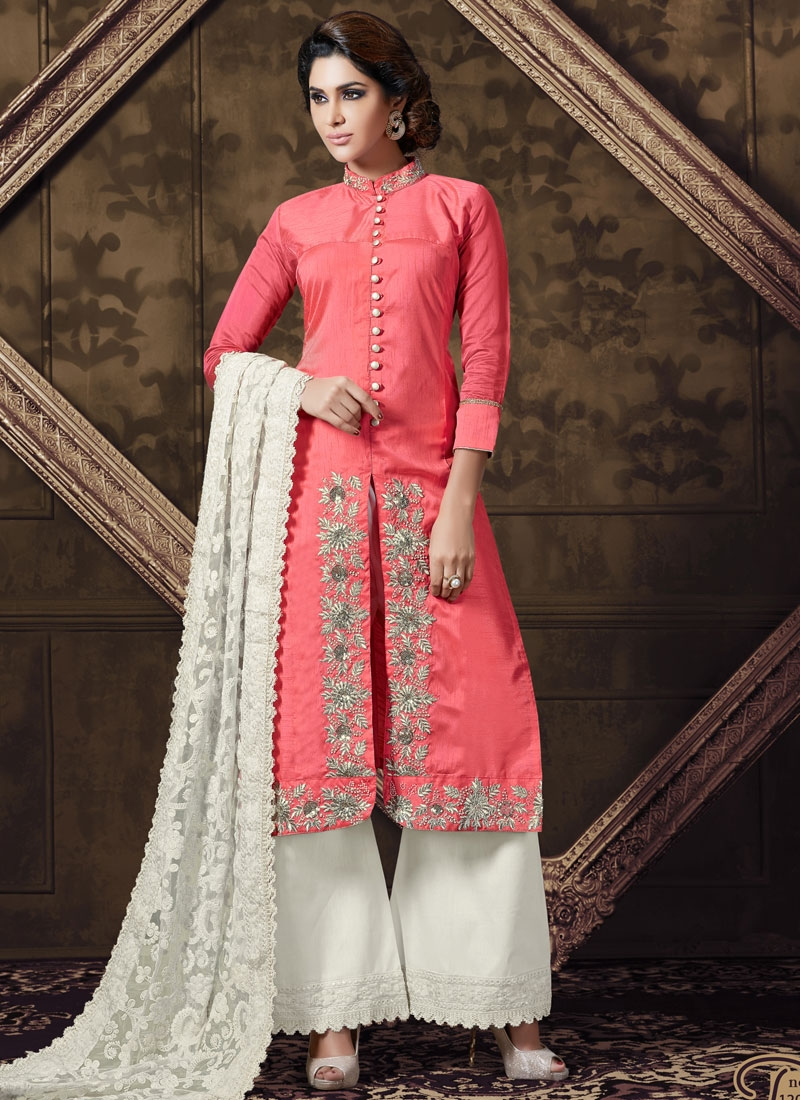 Wondrous Art Silk Sequins Work Palazzo Style Designer Suit