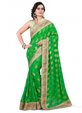 Wondrous Beads And Lace Work Designer Saree